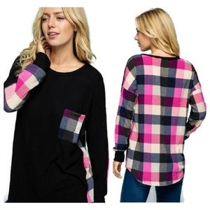 Plaid Contrast Long Sleeve Top w/ Front Pocket